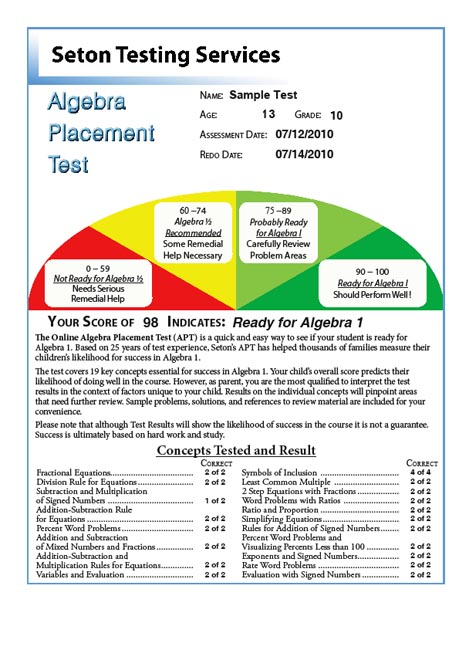 Algebra Placement Test - Seton Testing Services